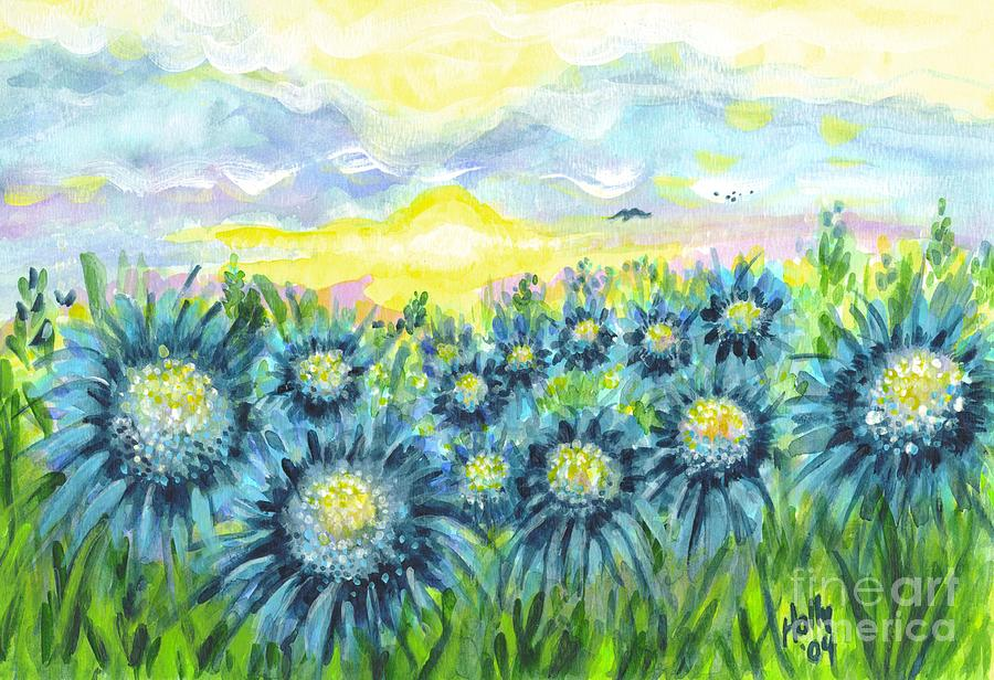Field Of Blue Flowers Painting  - Field Of Blue Flowers Fine Art Print