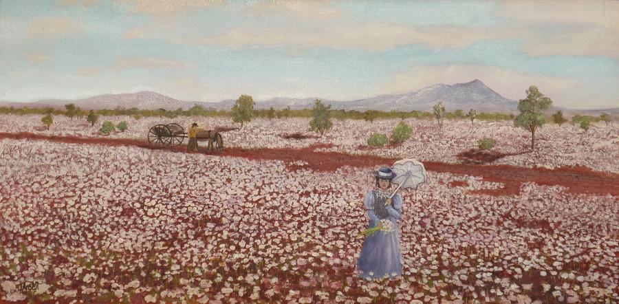 Field Of Pink Everlastings Painting  - Field Of Pink Everlastings Fine Art Print