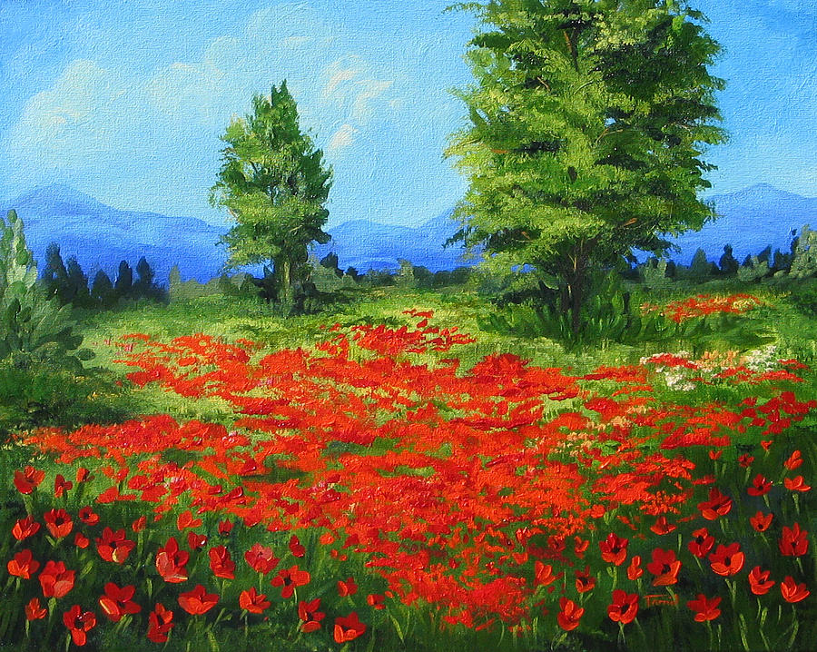 Field Of Poppies IIi Painting  - Field Of Poppies IIi Fine Art Print