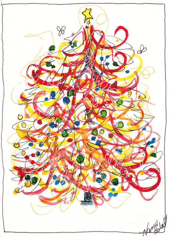 Fiesta Christmas Tree Painting  - Fiesta Christmas Tree Fine Art Print