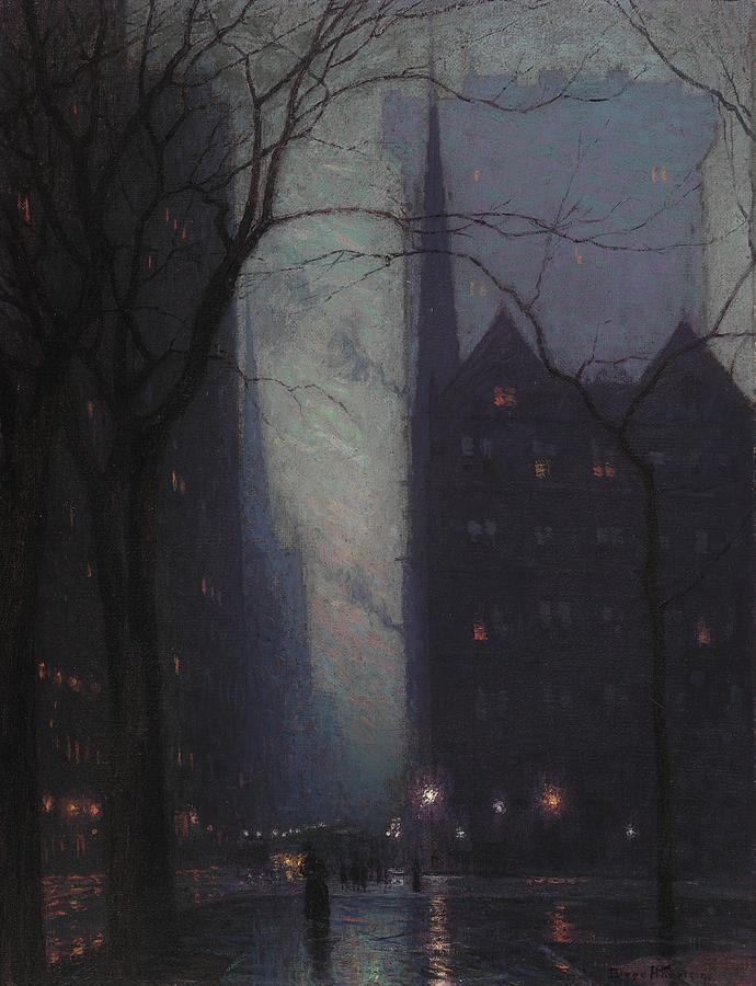 Fifth Avenue At Twilight Painting  - Fifth Avenue At Twilight Fine Art Print