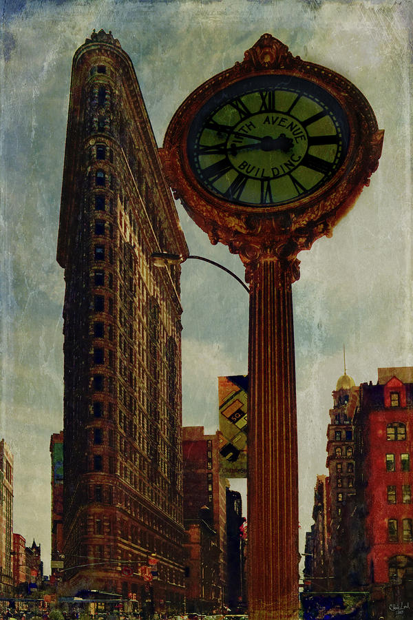 Fifth Avenue Clock And The Flatiron Building Photograph  - Fifth Avenue Clock And The Flatiron Building Fine Art Print