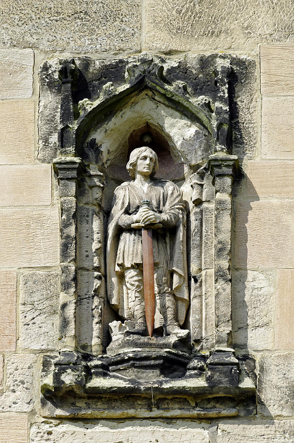 Figure Of St Wystan Above Porch Door Photograph  - Figure Of St Wystan Above Porch Door Fine Art Print