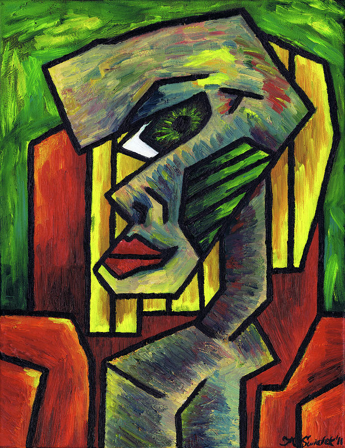 Figure Sitting On A Red Chair 2 Painting  - Figure Sitting On A Red Chair 2 Fine Art Print