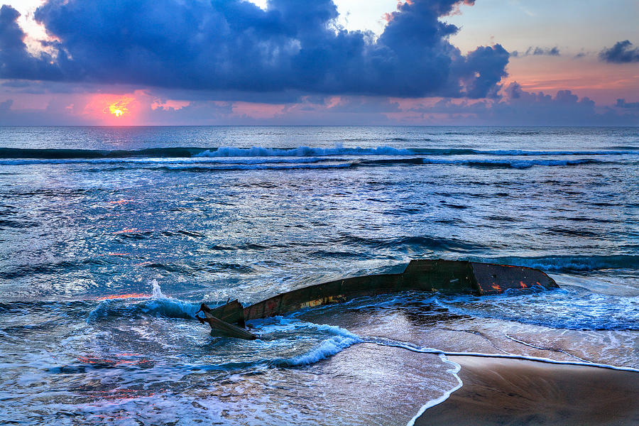 Outer Banks Photograph - Final Sunrise - Beached Boat On The Outer Banks by Dan Carmichael