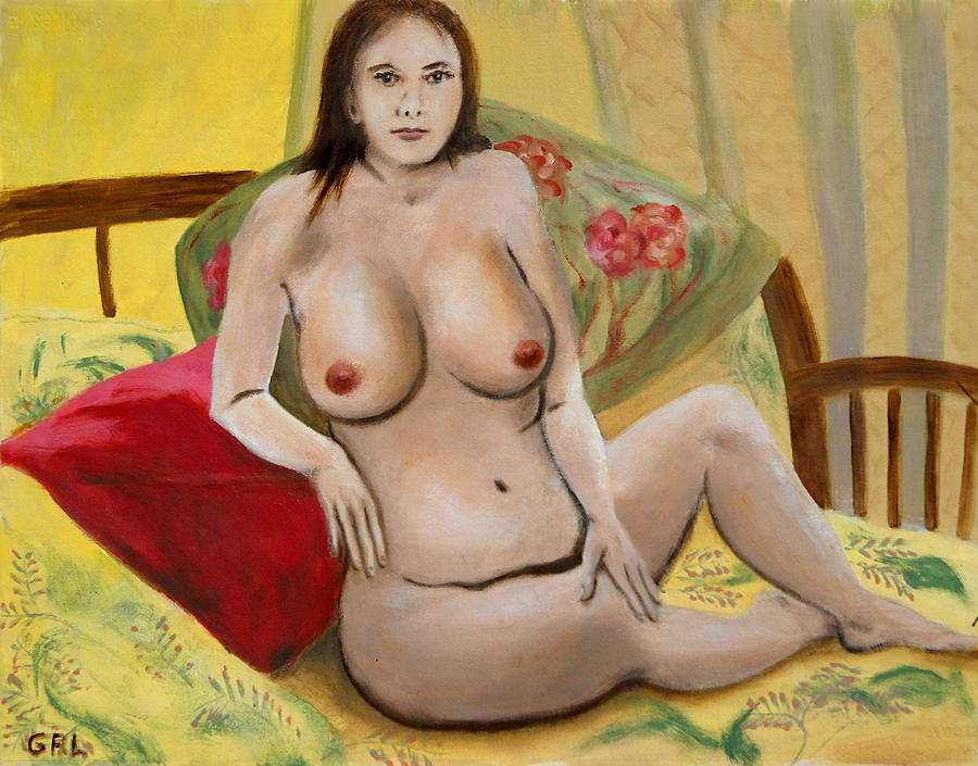 Original Oil Painting - Fine Art Female Nude Seated 2010 by G Linsenmayer