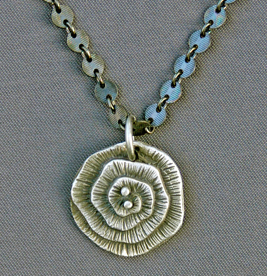Fine Silver Op-art Pendant Jewelry