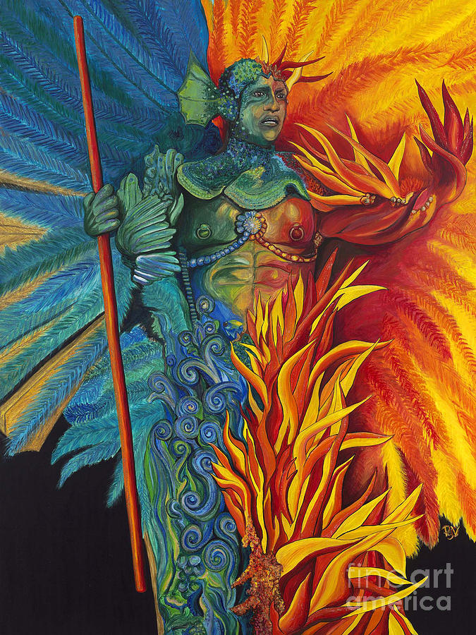 Fire And Water Carnival Figure Painting  - Fire And Water Carnival Figure Fine Art Print