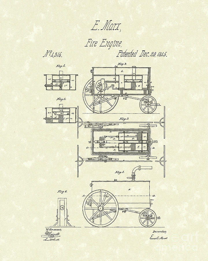 Fire Engine 1845 Patent Art Drawing