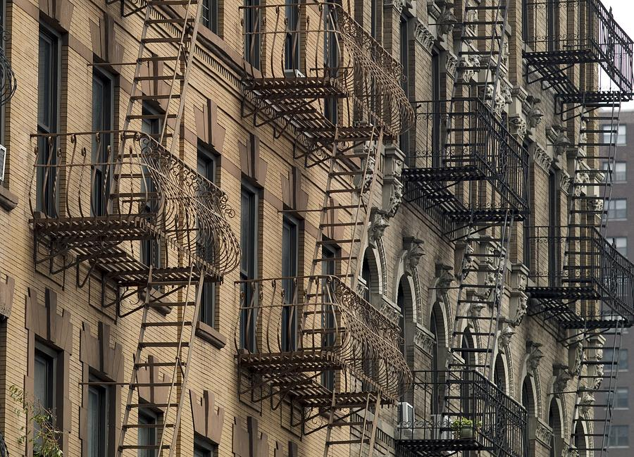 Fire Escapes On Brownstone Apartment Photograph