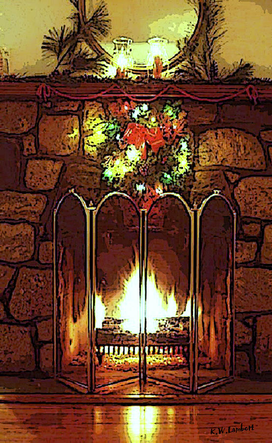 Fire Place Digital Art  - Fire Place Fine Art Print