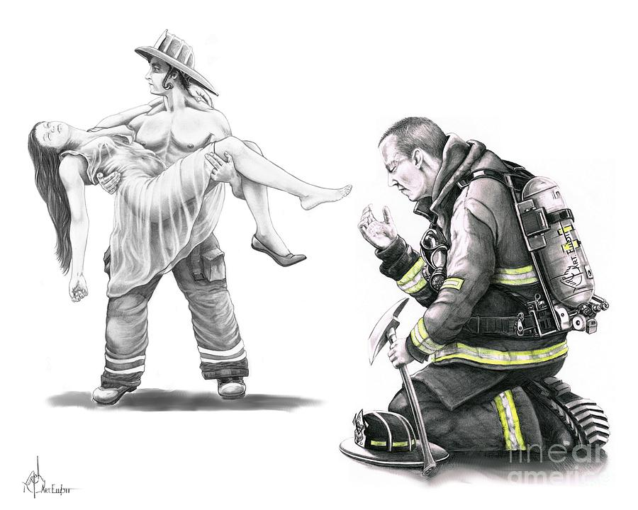 Fire Rescue Drawing  - Fire Rescue Fine Art Print