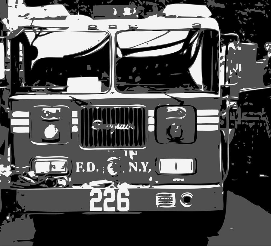 Fire Truck Bw3 Photograph