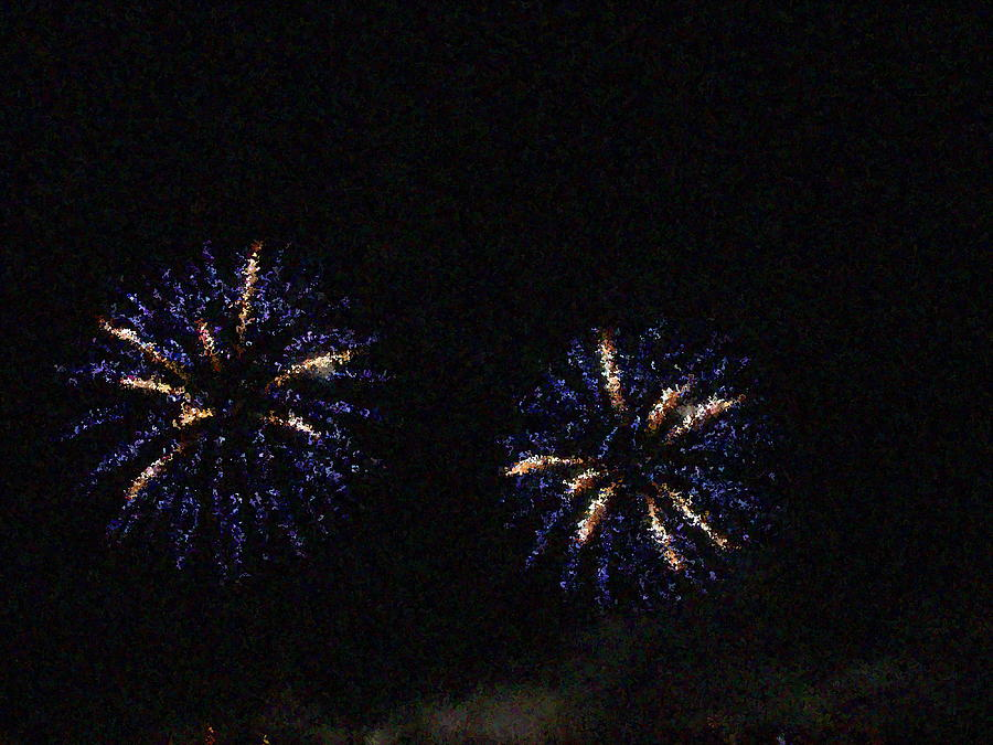 Fire Works Show Stippled Paint 1 Canada Photograph