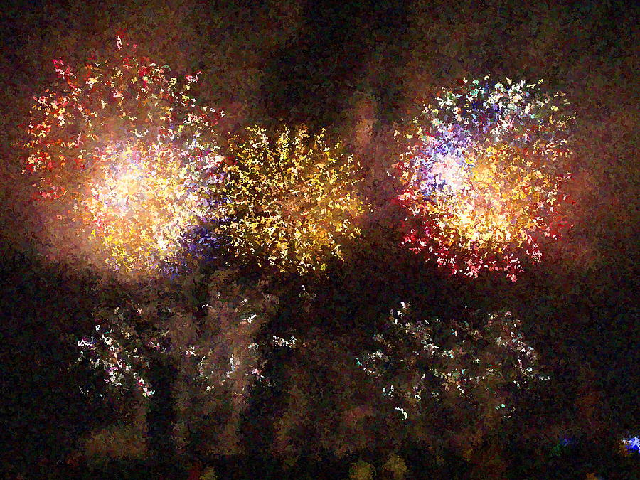 Fire Works Show Stippled Paint 3 France Photograph