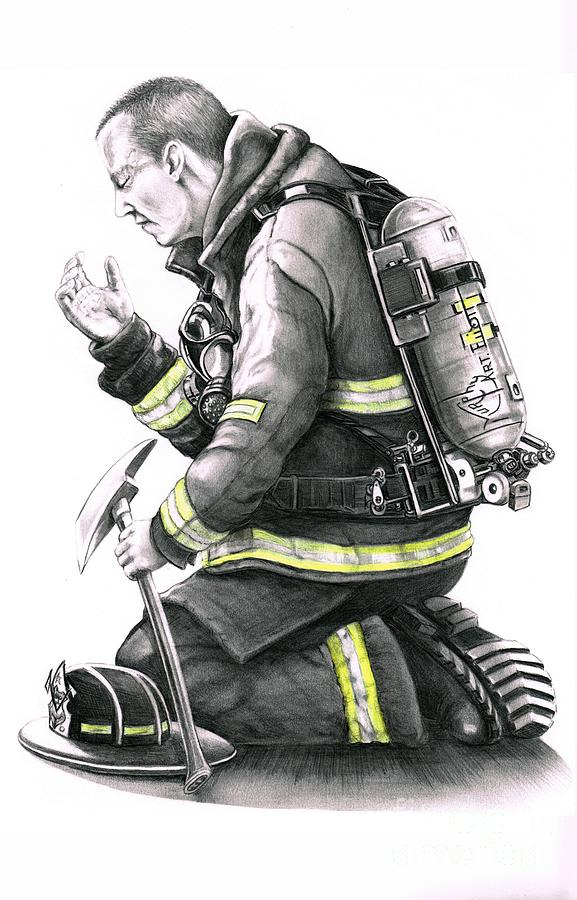 Firefighter Drawing  - Firefighter Fine Art Print