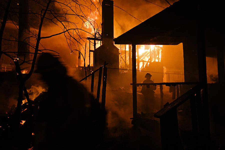 Firefighters Spray Down A Burning House Photograph  - Firefighters Spray Down A Burning House Fine Art Print