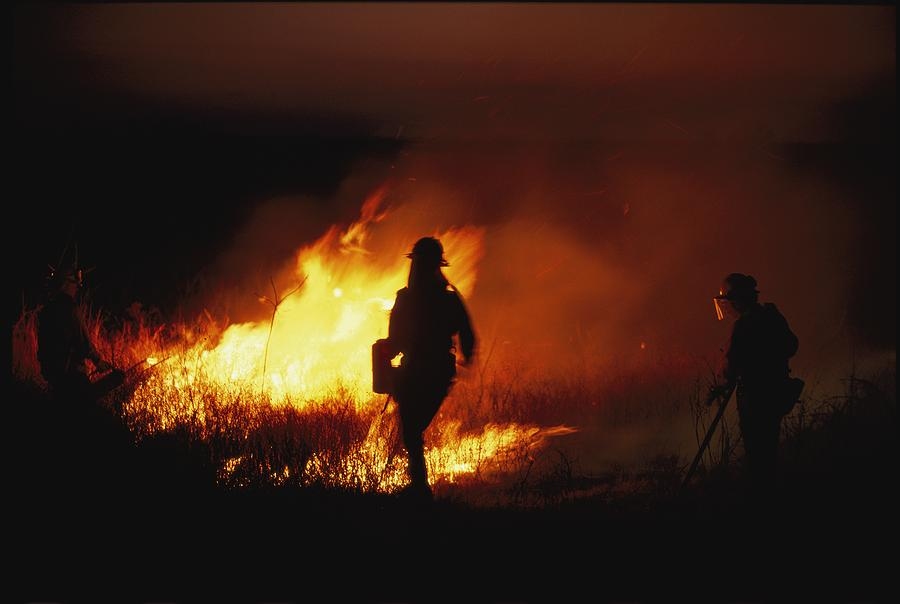 North America Photograph - Firefighters Start A Controlled Fire by Joel Sartore
