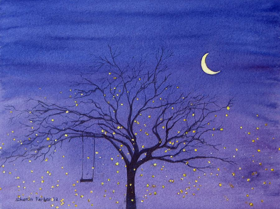Fireflies And Moon Painting  - Fireflies And Moon Fine Art Print