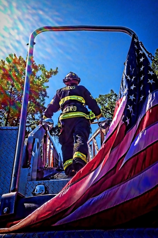 Firemen And Flag Photograph