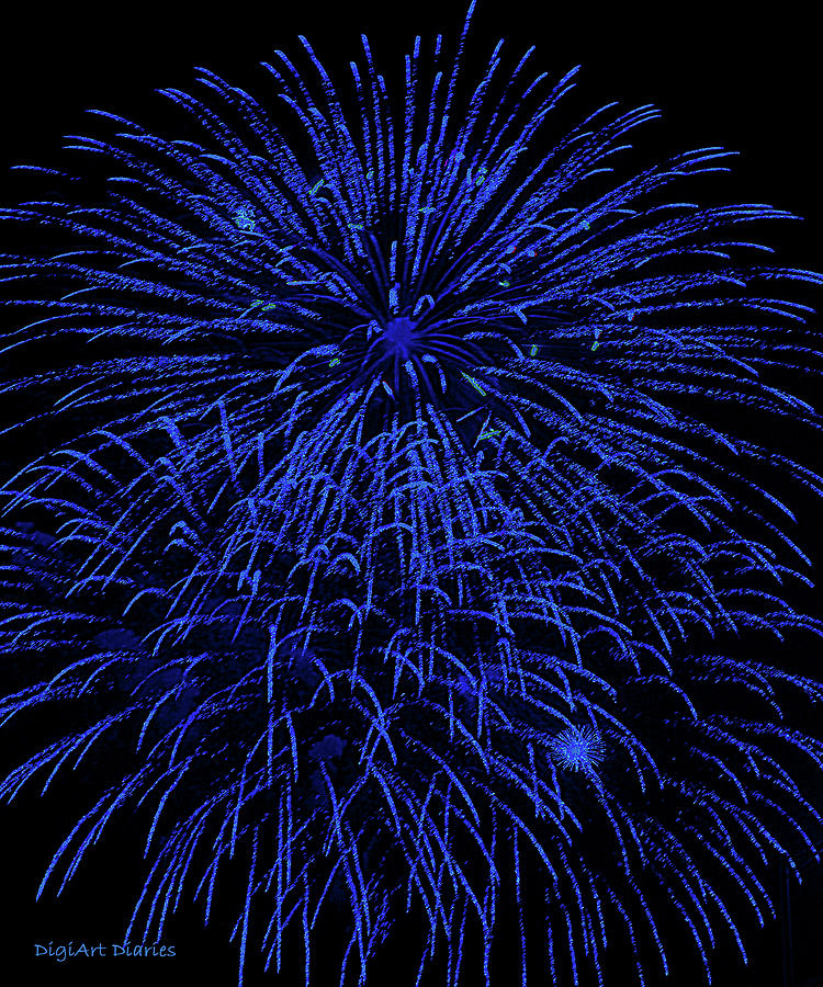 Firework Blues Digital Art  - Firework Blues Fine Art Print