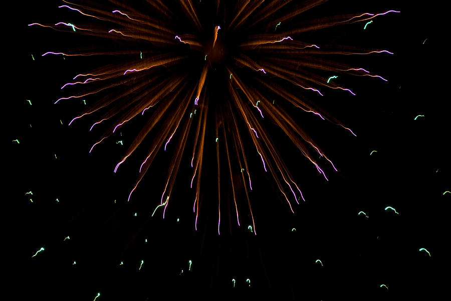 Fireworks Explode In The Air In Kansas Photograph  - Fireworks Explode In The Air In Kansas Fine Art Print