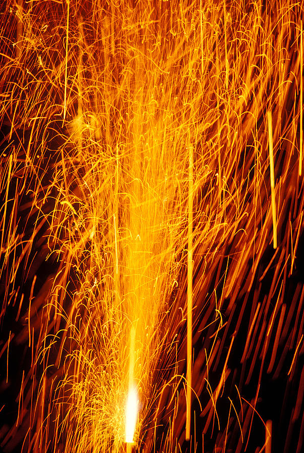 Fireworks Photograph - Fireworks Fountain by Garry Gay