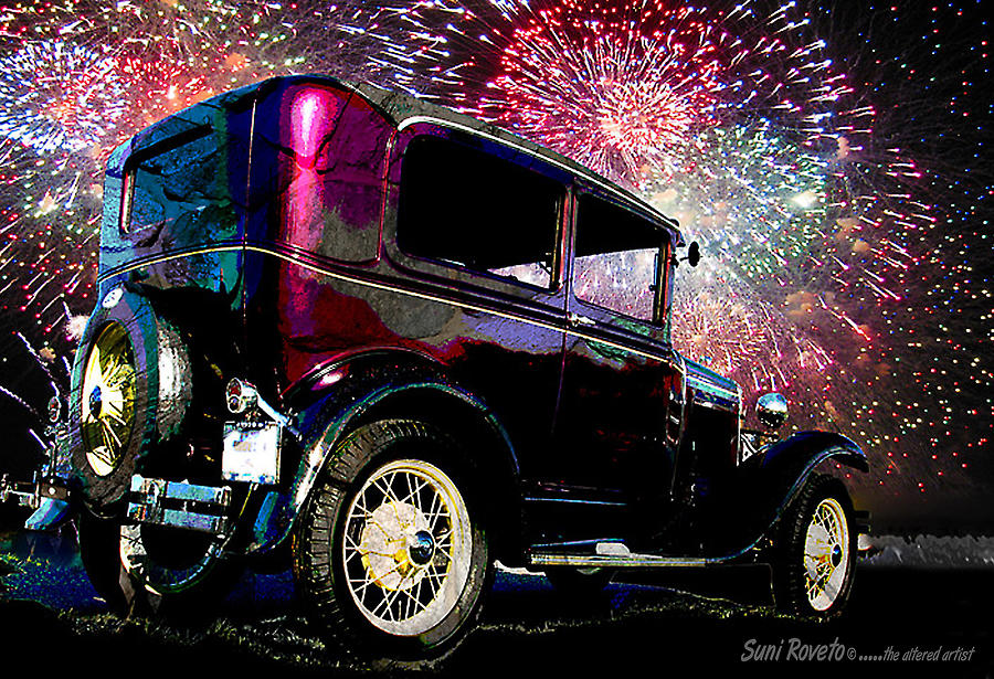 Car Painting - Fireworks In The Ford by Suni Roveto