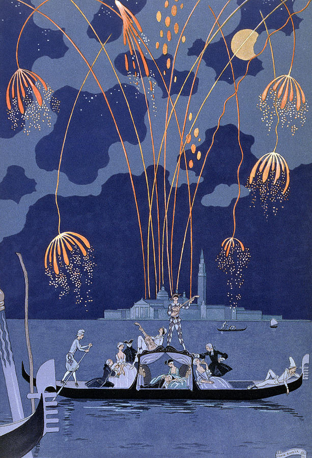 Fireworks In Venice Painting