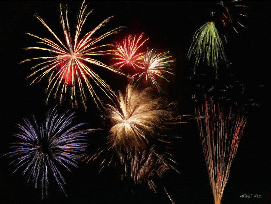 Fireworks Painting  - Fireworks Fine Art Print