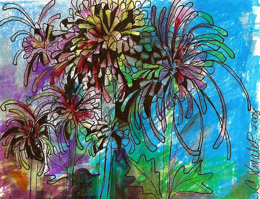 Fireworks Mums Mixed Media