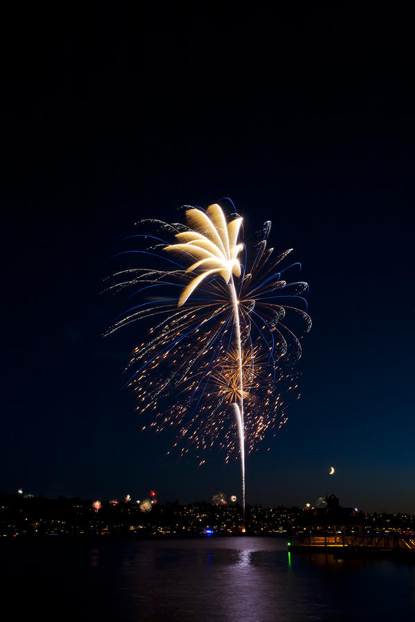 Fireworks Over Lake Washington Photograph  - Fireworks Over Lake Washington Fine Art Print