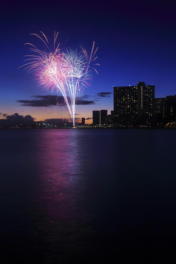 Fireworks Over Waikiki Photograph
