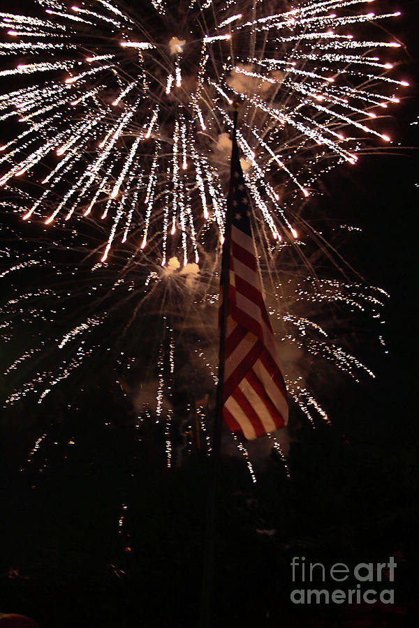 Fireworks With Flag Photograph