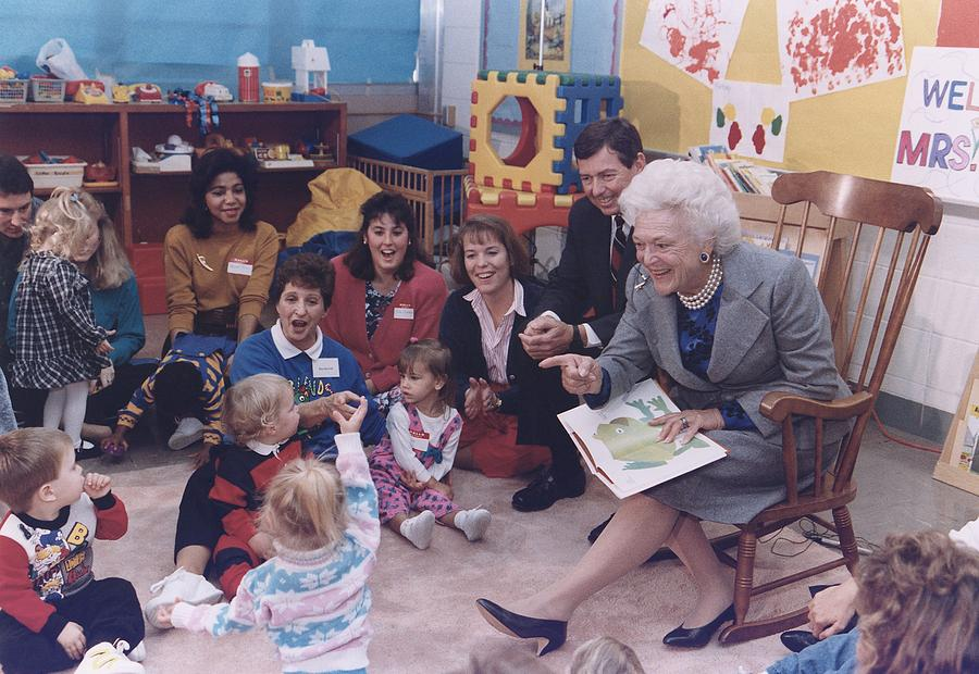 First Lady Barbara Bush And Missouri Photograph  - First Lady Barbara Bush And Missouri Fine Art Print