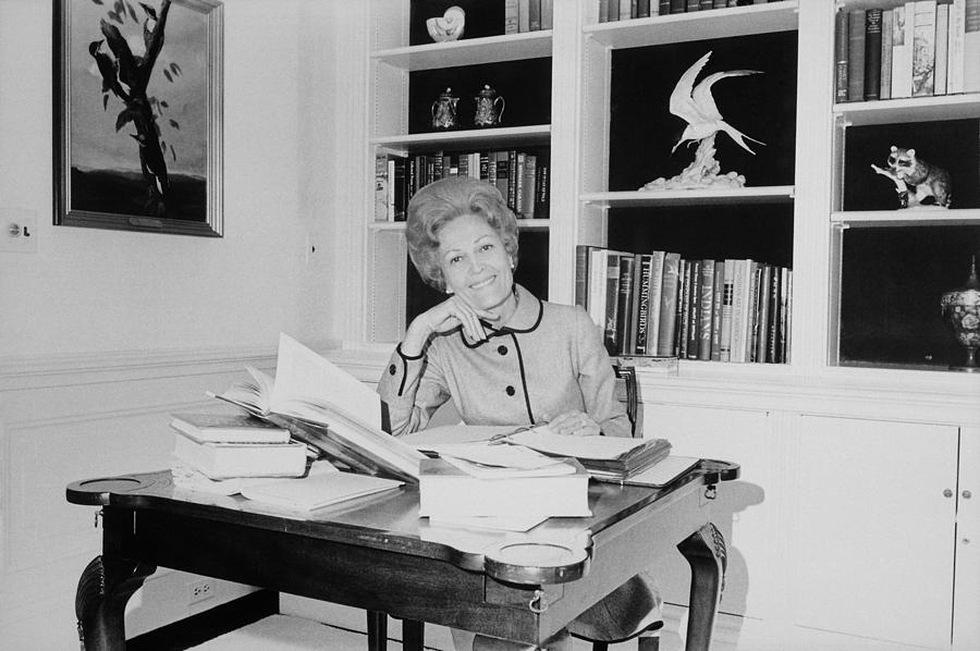First Lady Pat Nixon Working At A Small Photograph