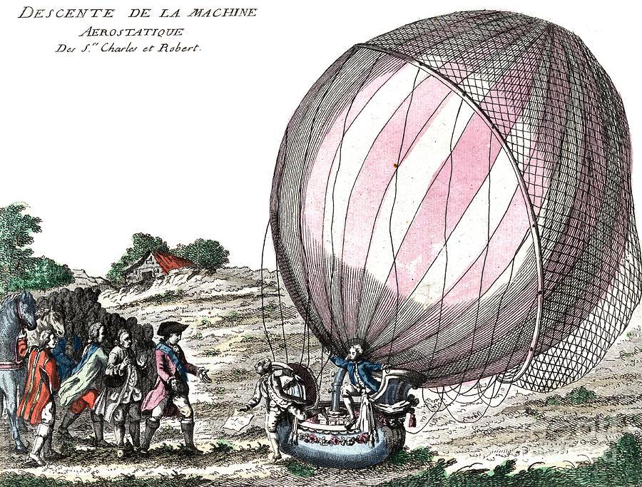 First Manned Hydrogen Balloon Flight Photograph