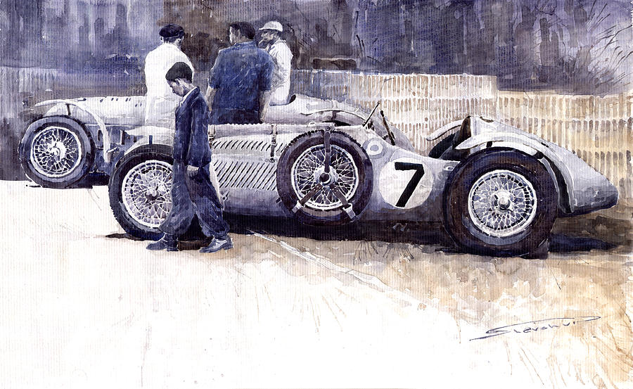 First Met Up Talbot Lago Le Mans 1950 Painting  - First Met Up Talbot Lago Le Mans 1950 Fine Art Print