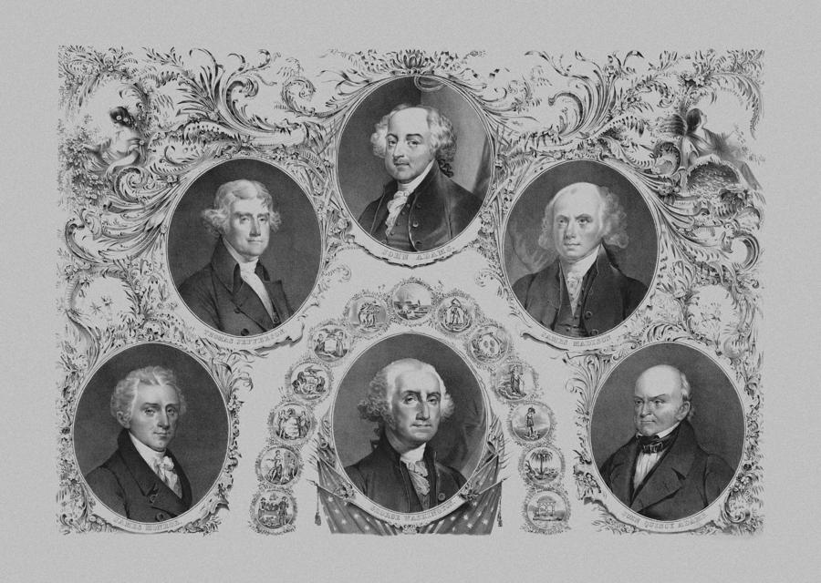 First Six U.s. Presidents Drawing  - First Six U.s. Presidents Fine Art Print