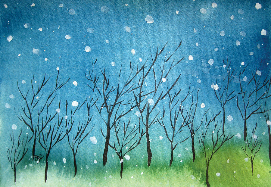 First Snow Painting  - First Snow Fine Art Print