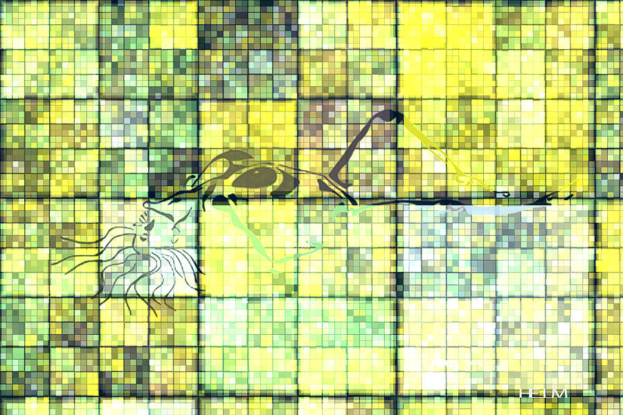 Hearts Digital Art Drawing - First Time Geometric Yellow by Mayhem Mediums