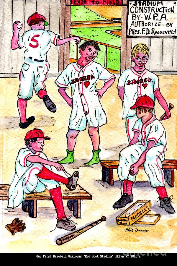 Sports Arts Mixed Media - First Uniforms by Philip Bracco