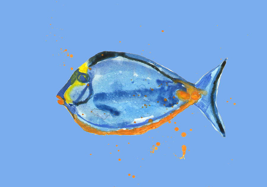 Fish - Tropical Fish - Blue Fish Painting  - Fish - Tropical Fish - Blue Fish Fine Art Print