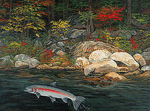 Fish Art Jumping Silver Steelhead Trout Art Nature Artwork Giclee Wildlife Underwater Wall Art Work Painting