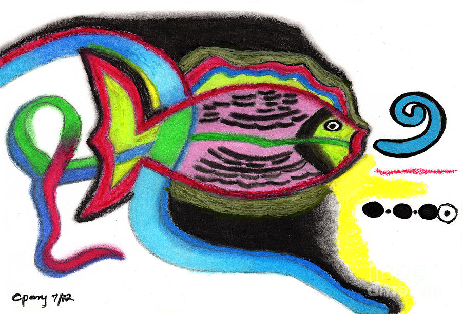 Tropical Fish Drawing - Fish Design 2 by Christine Perry