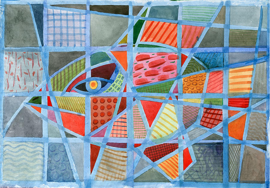 Fish In The Blue Net Painting