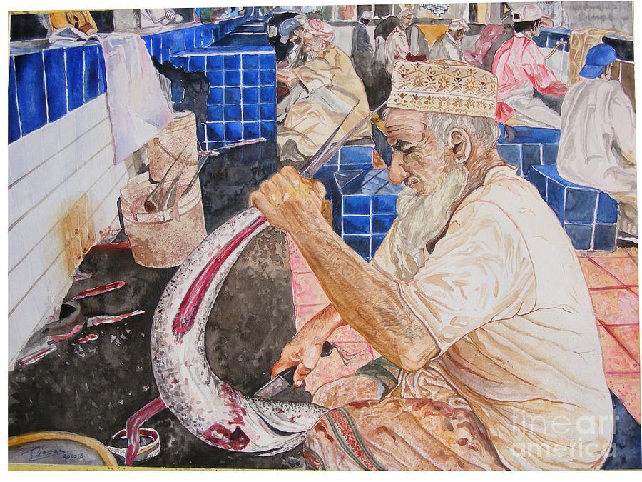 Fish Market Disemboweling Painting