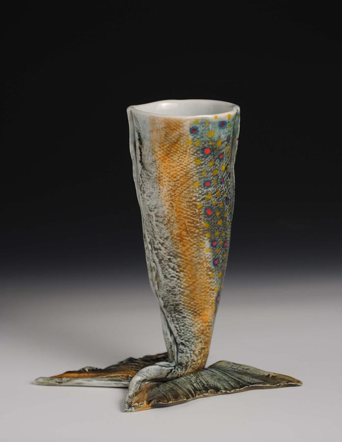 Porcelain Sculpture - Fish Wine Goblet by Mark Chuck
