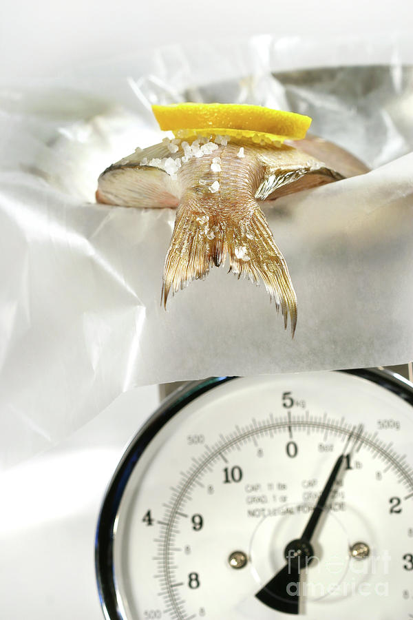 Fish With Lemon Slice On Weight Scale Photograph