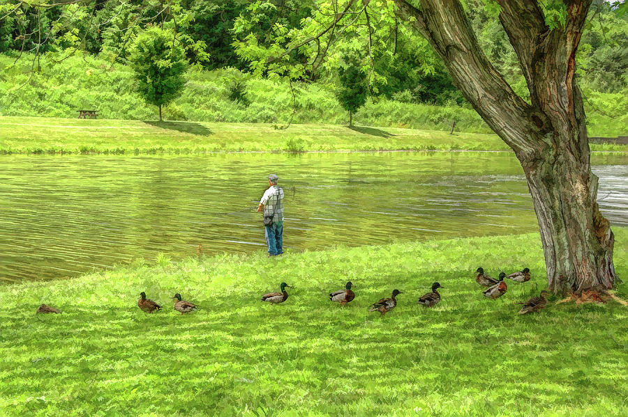 Fisherman Lazy Day At The Lake Digital Art